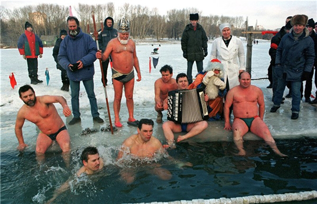 "Traditional bathing of winter-swimmers in the park of culture ""Luyblino"". 1999. Moscow. Russia"
