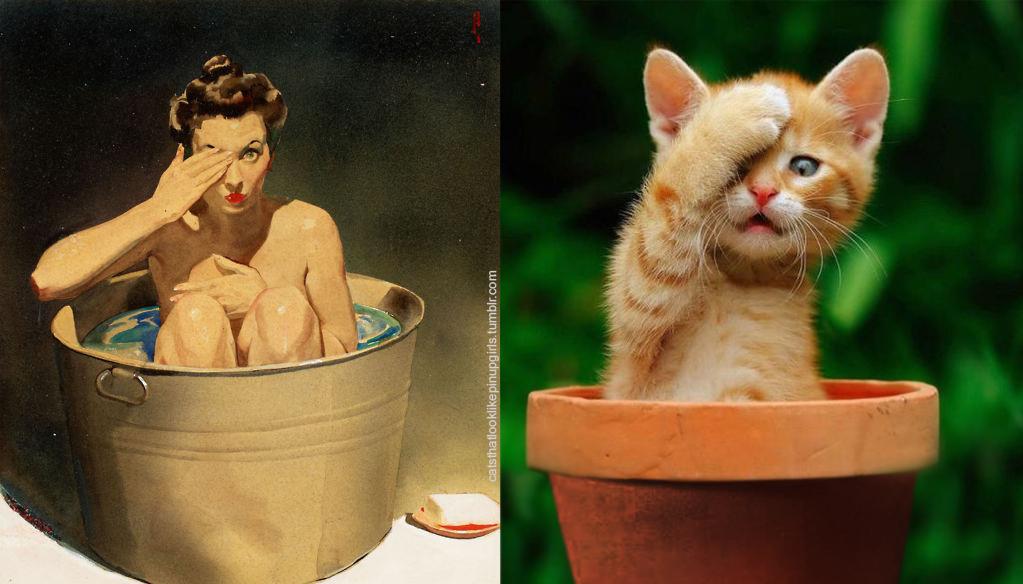 Пинап девушка и Котёнок: прятки