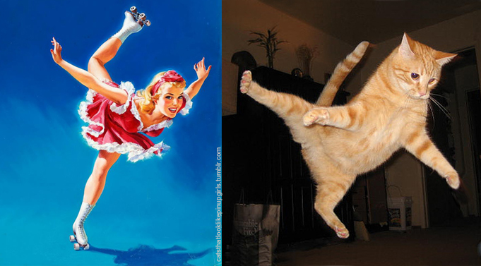 Пинап девушка и кот: фигурное катание