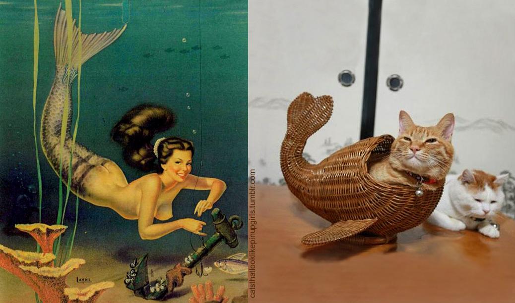 Пинап девушка и Кот в образе русалки