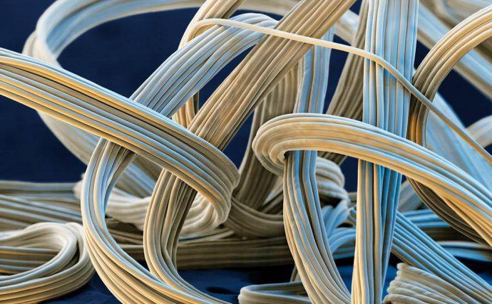 Полиуретановые волокна под микроскопом