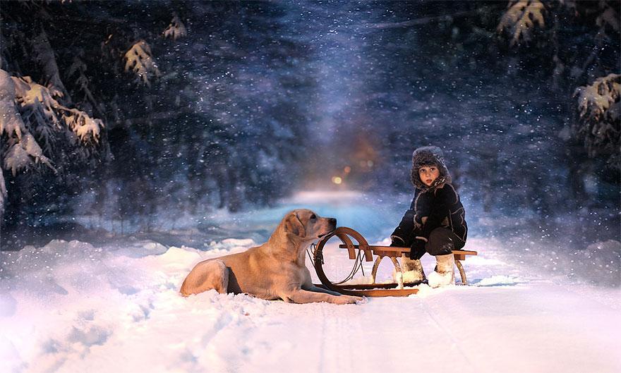 cool-animal-children-photography-Elena-Shumilova-sleigh-winter