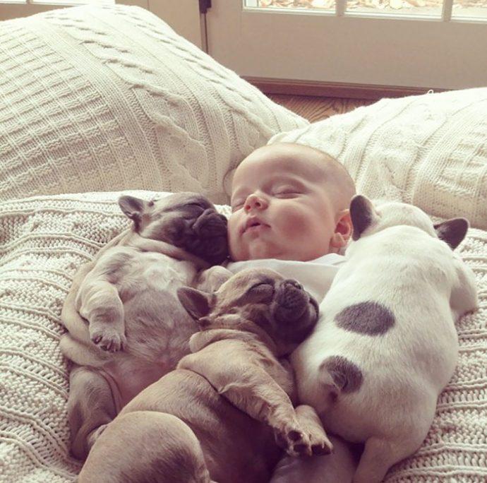 Живая подушка на страже сна! 10 самых умилительных фото спящих детей и их любимцев рис 3