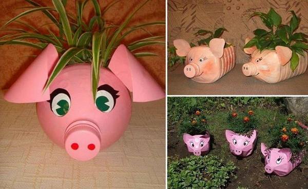 Горшки для растений в форме свиньи