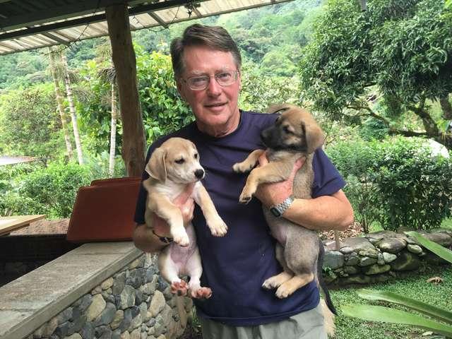 мужчина держит щенков