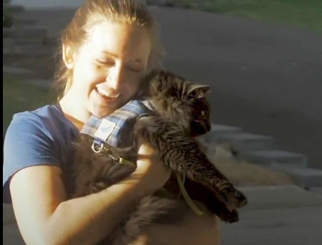 Девушка несет кота