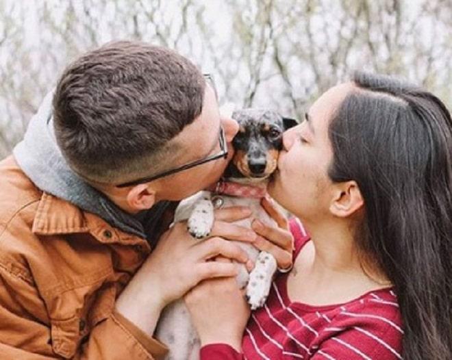 Собачку целуют
