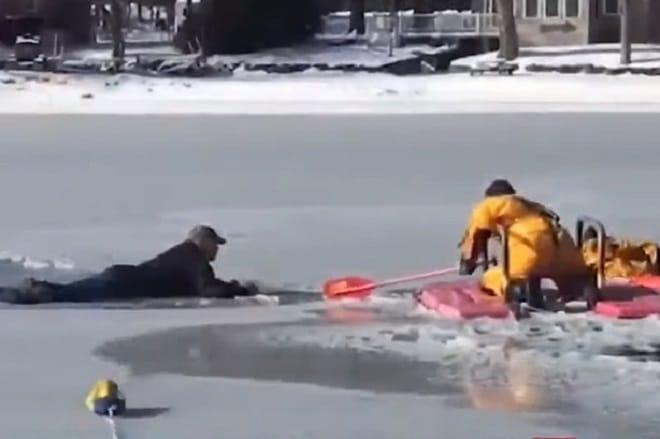Спасатель возле собаки
